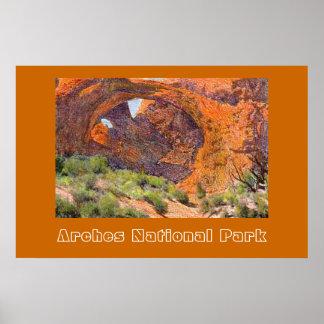 Poster de viagens do parque nacional dos arcos