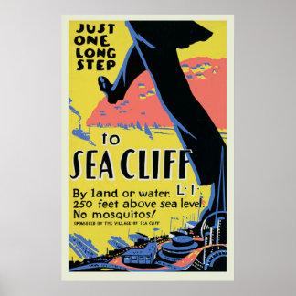 Poster de viagens do penhasco do mar do vintage