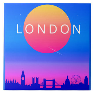 Poster de viagens do por do sol da skyline de