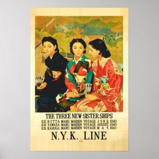 poster de viagens japonês da linha de cruzeiros do