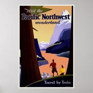 Poster de viagens noroeste pacífico do vintage