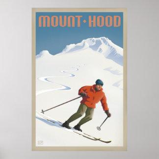 Poster de viagens retro da capa da montagem do esq pôster