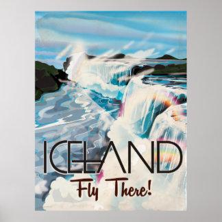 Poster de viagens retro da paisagem de Islândia Pôster