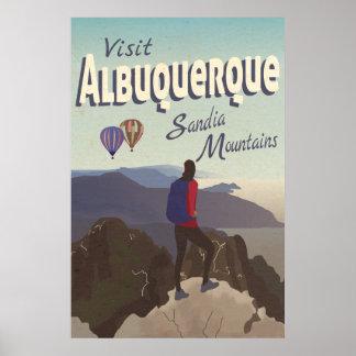 Poster de viagens retro das montanhas de