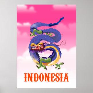 Poster de viagens retro do dragão de Indonésia