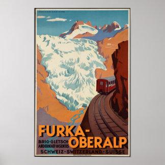 Poster de viagens suíço da estrada de ferro do
