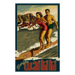 Poster de viagens surfando de Waikiki - de Honolul