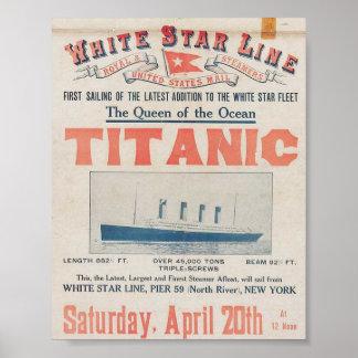 Poster de viagens titânico do vintage