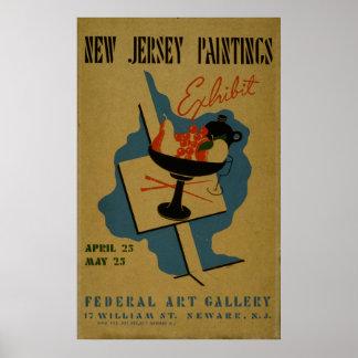 Poster de WPA do vintage de New-jersey da galeria