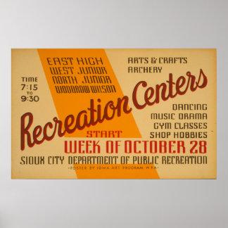 Poster de WPA do vintage dos centros recreativos Pôster