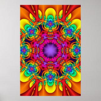 Poster decorativo da mandala em cores do arco-íris