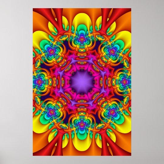 Poster decorativo da mandala em cores do arco-íris pôster