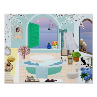Poster decorativo do banheiro com a banheira do pé