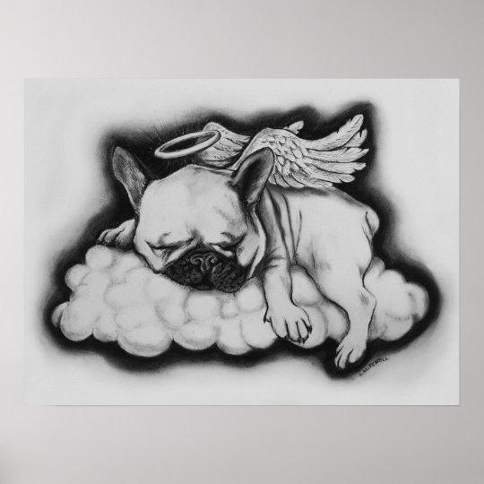 poster desenho agradável do anjo do buldogue francês zazzle com br