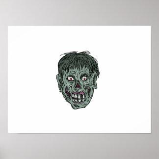 Pôster Desenho da cabeça do crânio do zombi