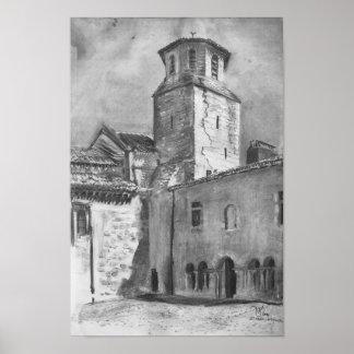 Pôster Desenho de carvão vegetal da torre de igreja
