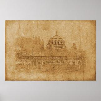 Pôster Desenho do vintage da catedral