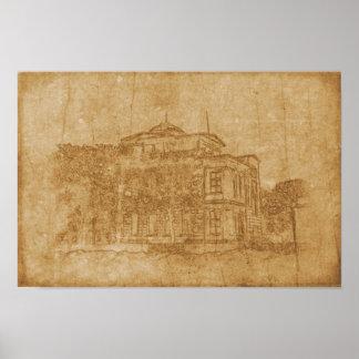 Pôster Desenho do vintage da construção