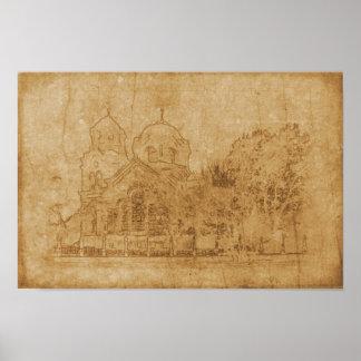 Pôster Desenho do vintage da igreja