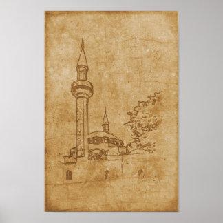 Poster Desenho do vintage da mesquita de Juma-Jami