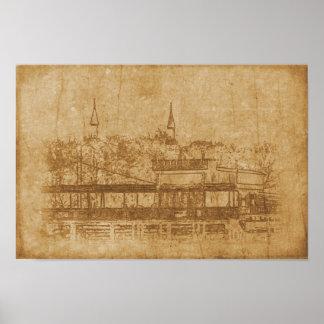Pôster Desenho do vintage do minarete