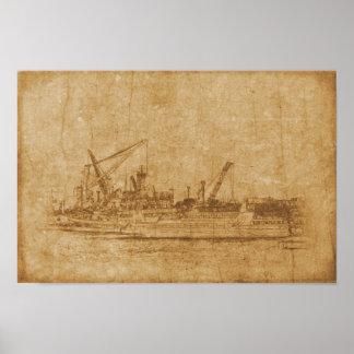 Pôster Desenho do vintage do porto marítimo