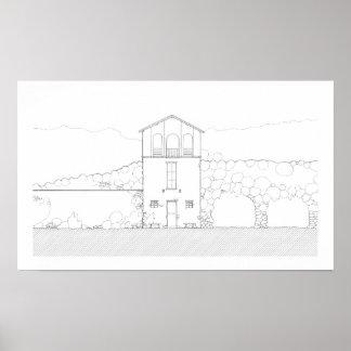 Poster Desenho preto e branco moderno da casa rústica