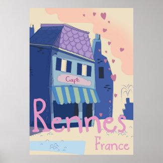 Pôster Desenhos animados do vintage de Rennes France
