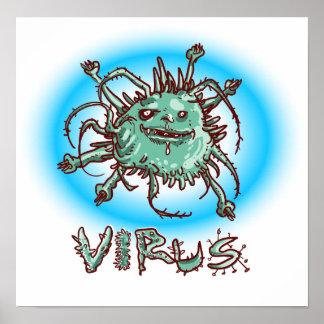 Poster desenhos animados engraçados do vírus feio