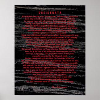 Poster Desiderata vermelhos no mármore do preto da poeira