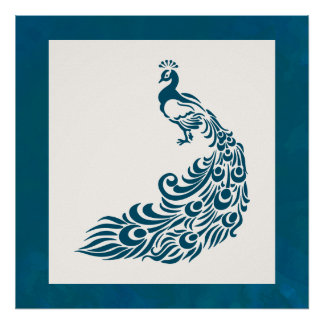 Poster Design à moda corajoso do art deco do pavão da