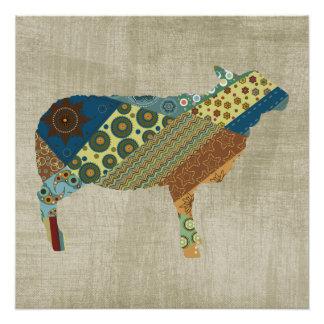 Pôster Design colorido dos carneiros da edredão de BoHo