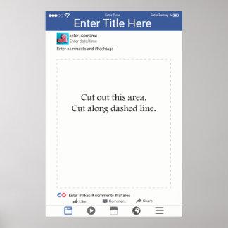 Poster Design inspirado Facebook do quadro do suporte da