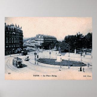 Poster Dijon, France, lugar Darcy do La, vintage