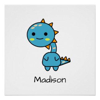 Pôster Dinossauro azul colorido dos desenhos animados de