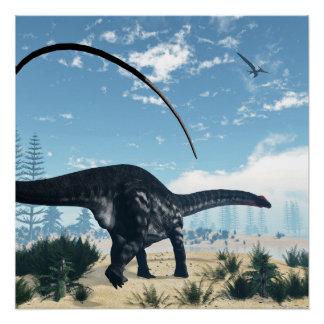 Pôster Dinossauro do Apatosaurus no deserto - 3D rendem