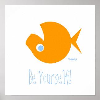 Poster dissidente engraçado bonito do peixe