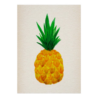 Poster do abacaxi da aguarela