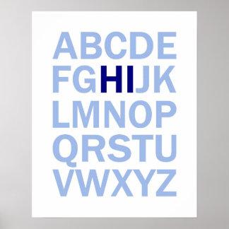 Poster do alfabeto de ABC que diz o HI
