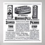 poster do anúncio de jornal de 1890 medicinas