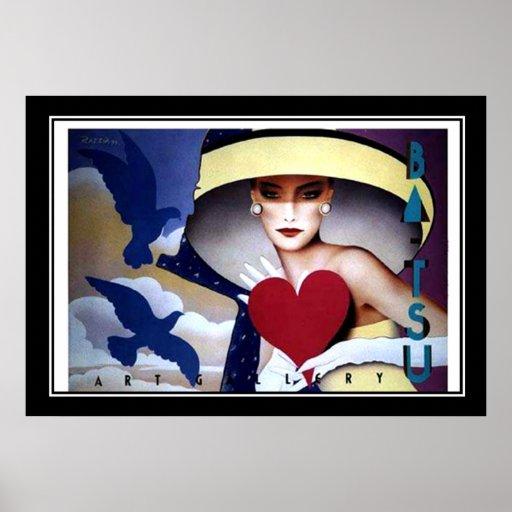Poster do art deco do coração da mulher
