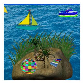poster do azul da praia do oceano do hammock poster perfeito