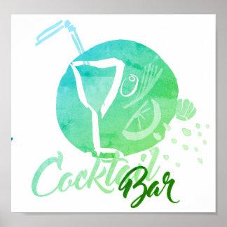 Poster do bar do cocktail da aguarela pôster
