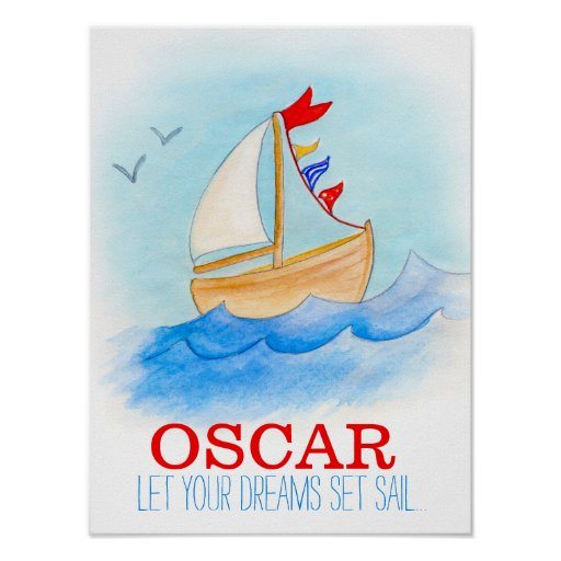 Poster do barco de navigação do berçário do bebé