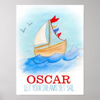 Poster do barco de navigação do berçário do bebé pôster