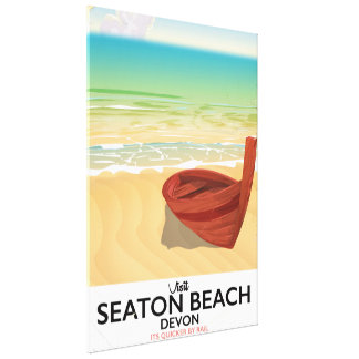 Poster do beira-mar do vintage de Devon da praia