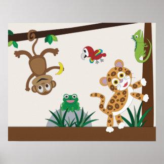 Poster do berçário da selva da floresta húmida
