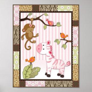 Poster do berçário do bebé da zebra de Jill da sel Pôster