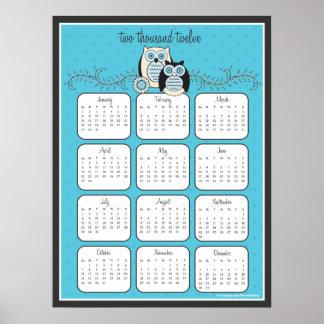 Poster do calendário das corujas 2012 do inverno