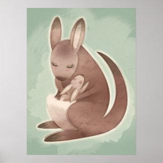 Poster do canguru da mamã e do bebê